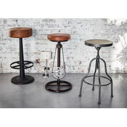 Tabouret de bar rond en pin...