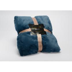 Plaid luxe 130x170 bleu nuit