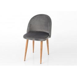 Chaise en velours gris Hantz