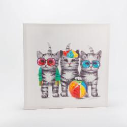 Tableau trio chats joueurs