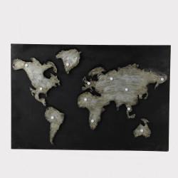Tableau carte monde noire