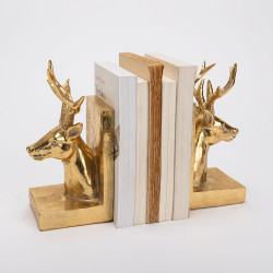 Serre livres cerfs dorée