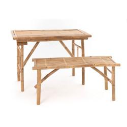 Table et banc en bambou