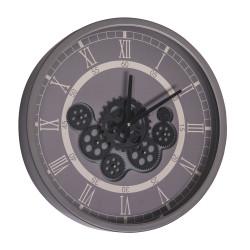 Horloge gear 46 cm fond gris